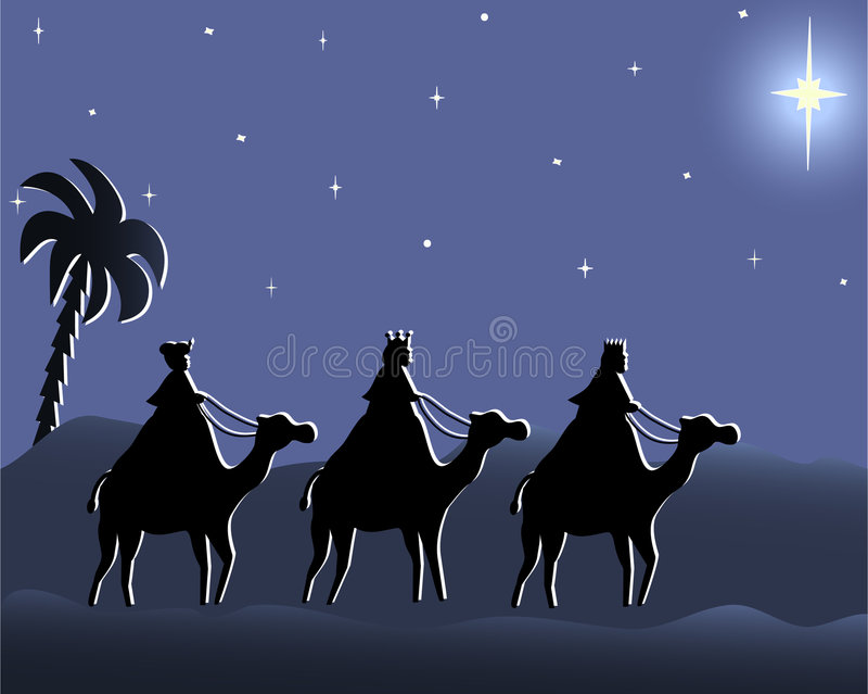 Wisemen allant à Bethlehem la nuit illustration stock