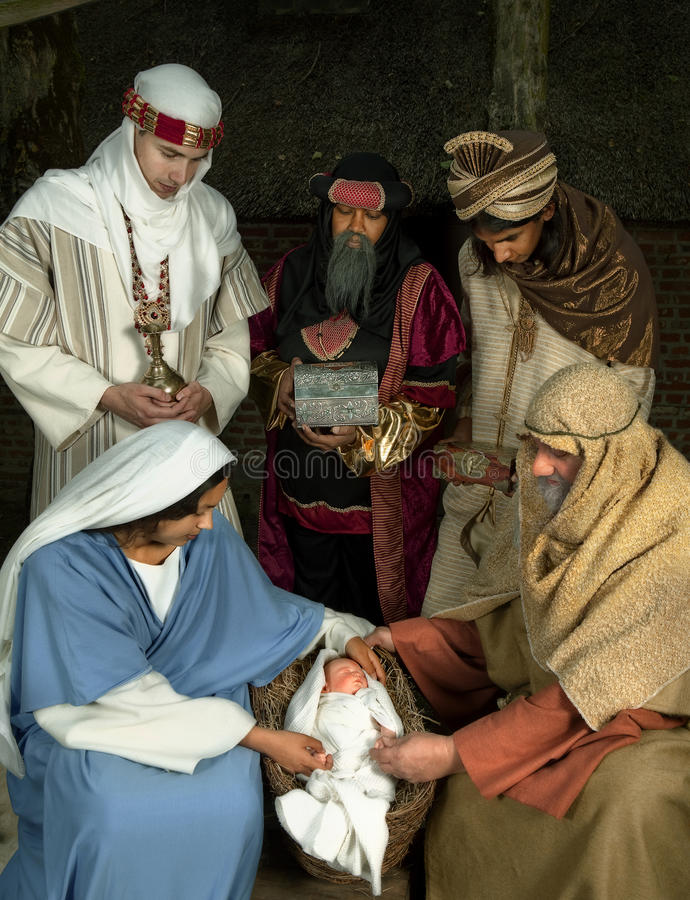 Wisemen Bożych Narodzeń scena zdjęcie stock
