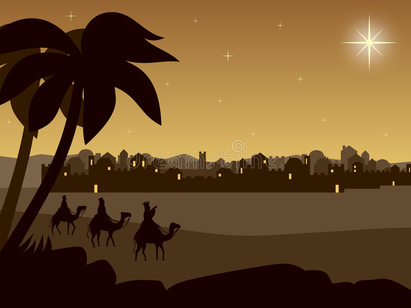 Wisemen in Dawn stock illustratie