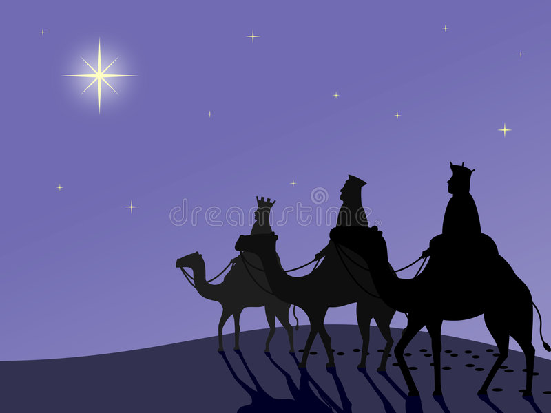 "Wisemen in the Desert. Illustration of the three Wisemen following the star to Bethlehem. ""Wisemen following the Star"", ""Wisemen at Bethlehem"