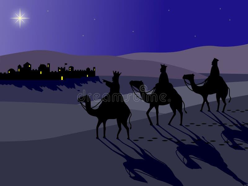 Wisemen em Bethlehem ilustração royalty free