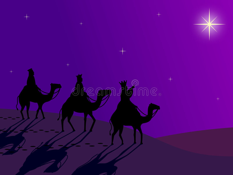 Wisemen following the Star stock illustration