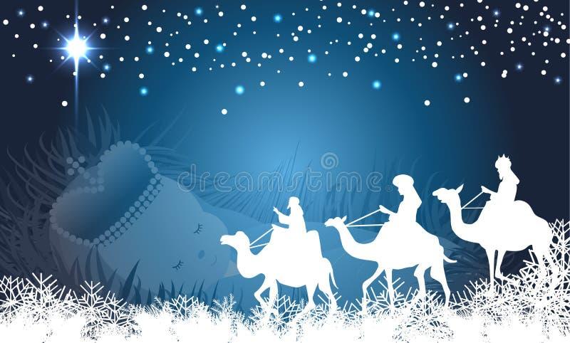 Wisemen med behandla som ett barn jesus bakgrund stock illustrationer