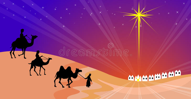 Download Wisemen silhouette stock vector. Image of follow, birth - 34421355
