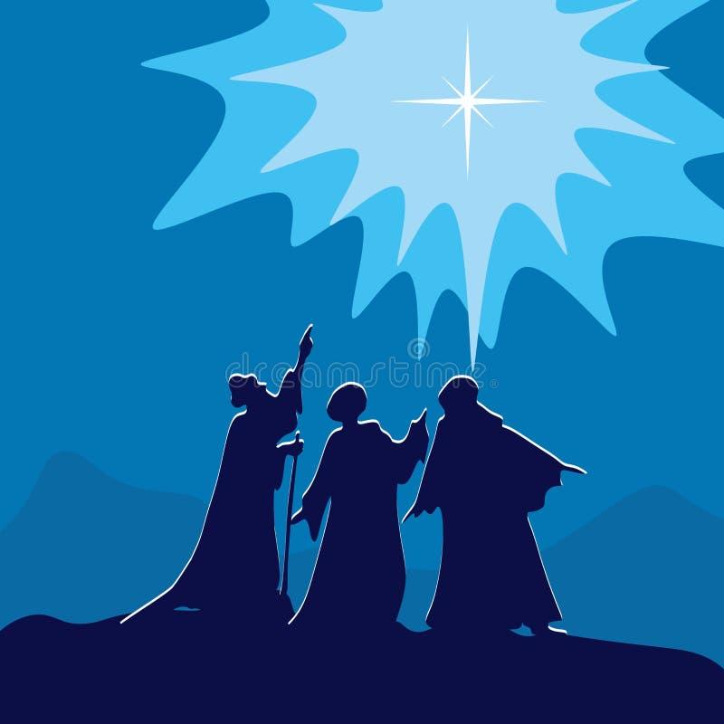 Wisemen som pekar till stjärnan av Betlehem royaltyfri illustrationer