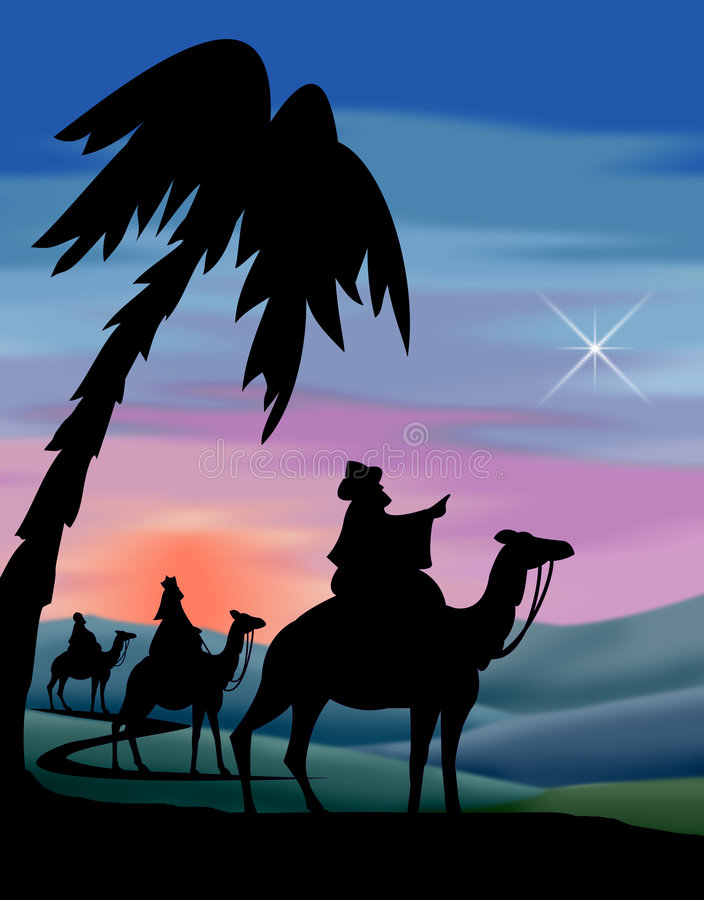 Wisemen Travel to Bethlehem. Illustration of the three wisemen following the star to Bethlehem...matching Journey to Bethlehem, Nativity and Shepherds also in my
