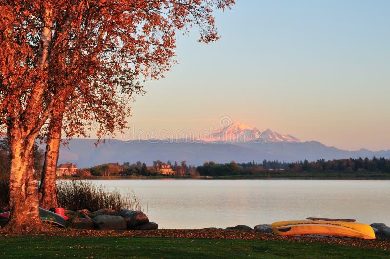 Wiser lake and mount Baker. In Washington State royalty free stock image