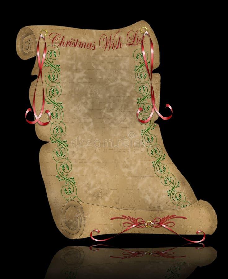 wish för parchment för jullista gammal royaltyfri illustrationer