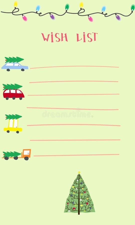 Christmas Wish List Design Blank Stock Vector Illustration