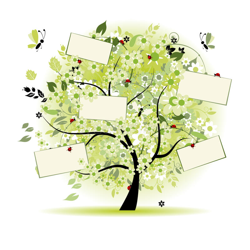 Free Wish Tree Floral With Cards For Your Text Royalty Free Stock Photos - 10372688