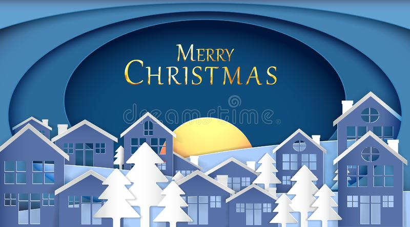 We wish you a Merry Christmas and Happy New Year, Paper art design, Advertising with winter composition in paper cut style,blue to. Ne , Vector illustration royalty free illustration