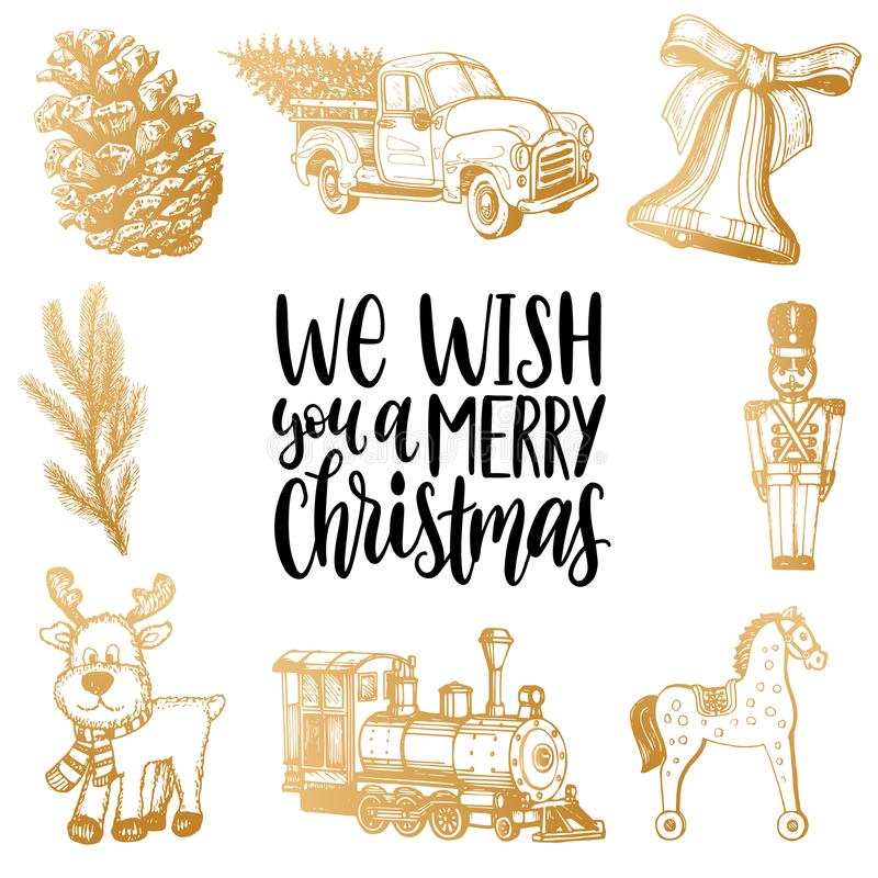 We Wish You A Merry Christmas lettering with hand drawn Nativity toys illustrations. Vector Happy Holidays typography. We Wish You A Merry Christmas lettering vector illustration