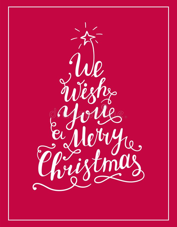 We wish you a Merry Christmas lettering text in the shape of Christmas Tree. royalty free illustration