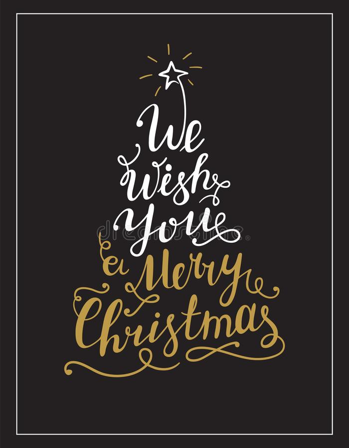 We wish you a Merry Christmas lettering text in the shape of Christmas Tree. vector illustration