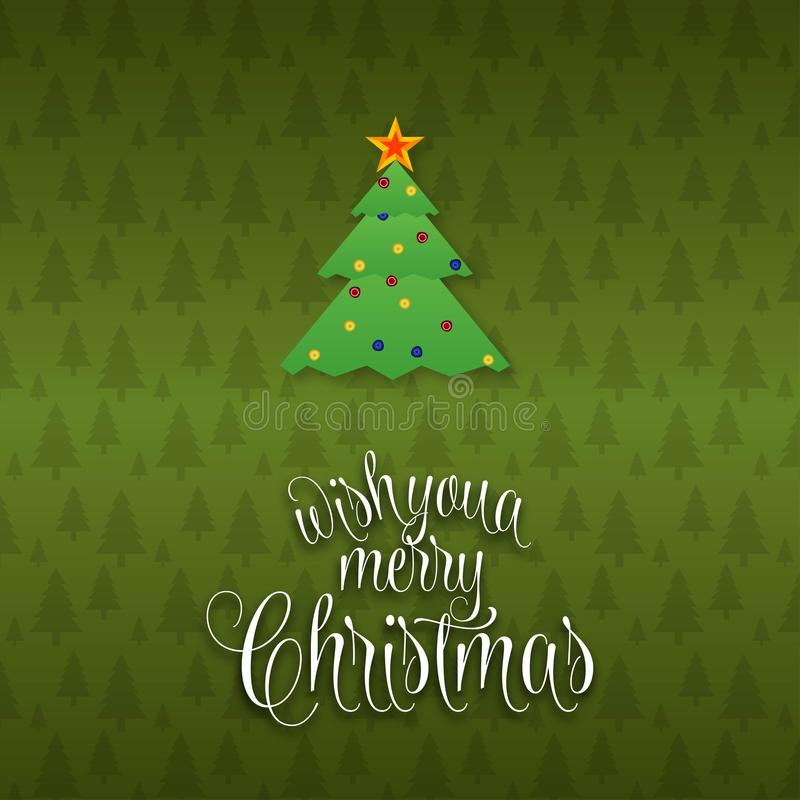 We wish you a Merry Christmas Tree background royalty free illustration