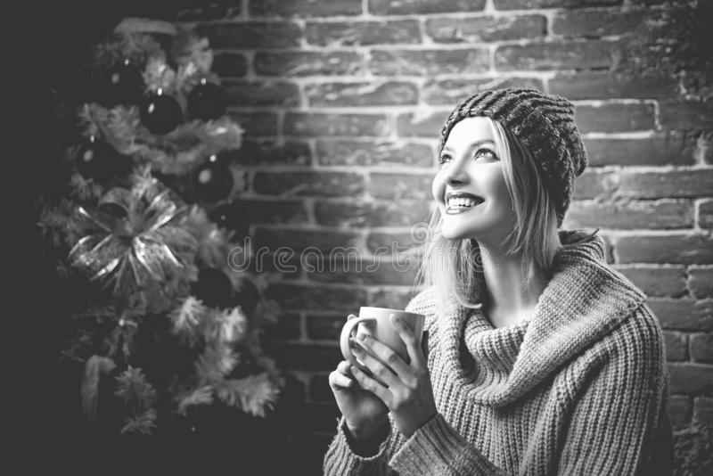 We wish you a merry christmas tree. Party christmas, new years eve girl. Merry xmas and happy new year. stock photography