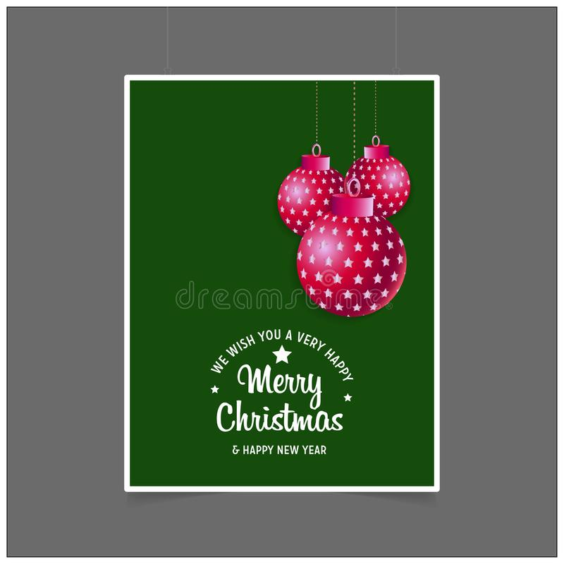 we wish you a very happy Merry Christmas and Happy New year background royalty free illustration