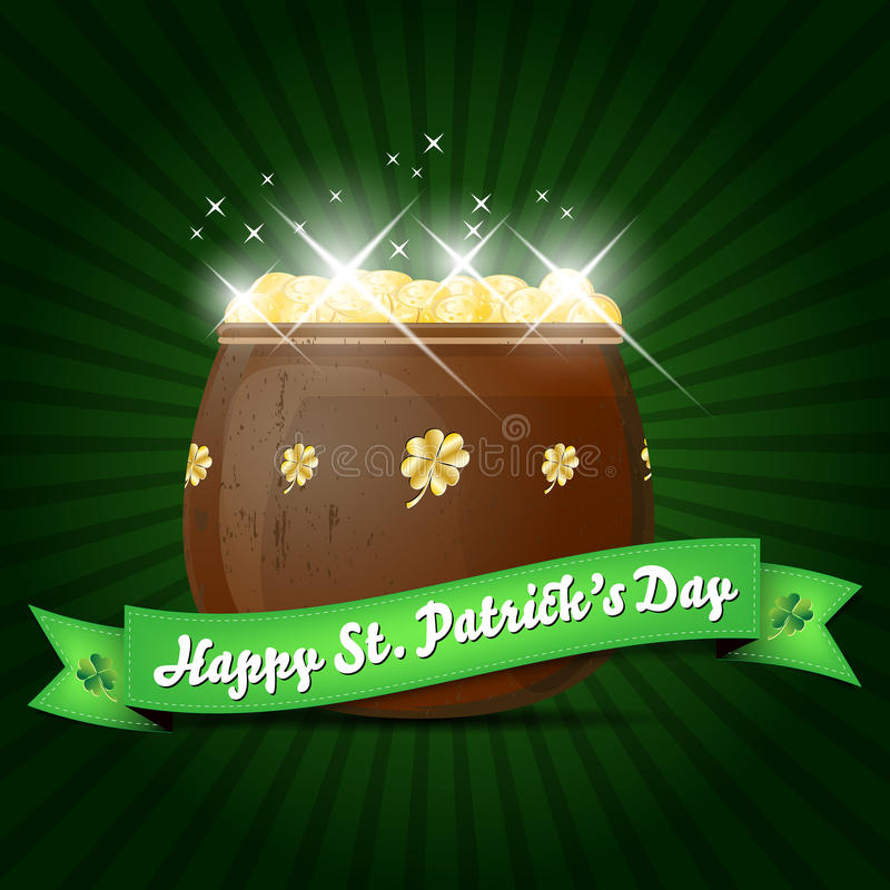 Wishes on St. Patricks Day with pot of gold stock illustration