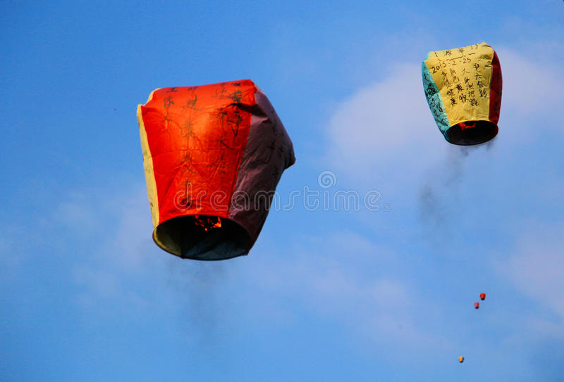 The Wishing Sky lantern stock images