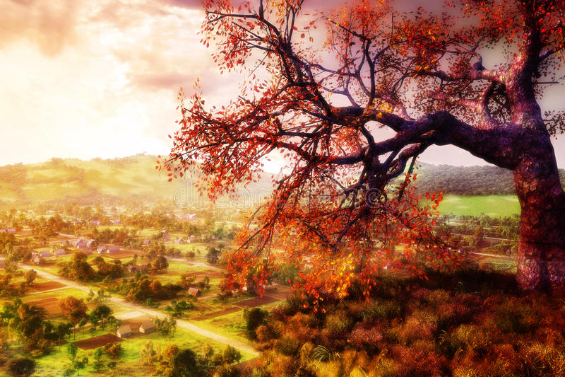 Wishing Tree. Beautiful landscape with hill on the close up with a tree upon it and a village on the background surrounded with mountains vector illustration