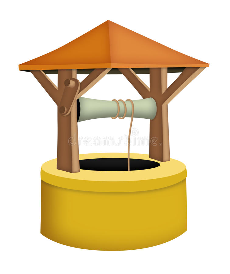 Wishing Well. Cartoon wishing well with roof stock illustration