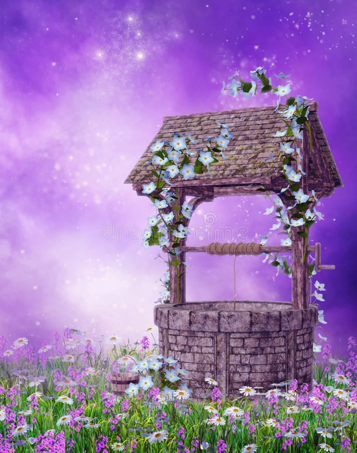 Download Wishing Well On A Colorful Meadow Stock Illustration - Image: 28623507