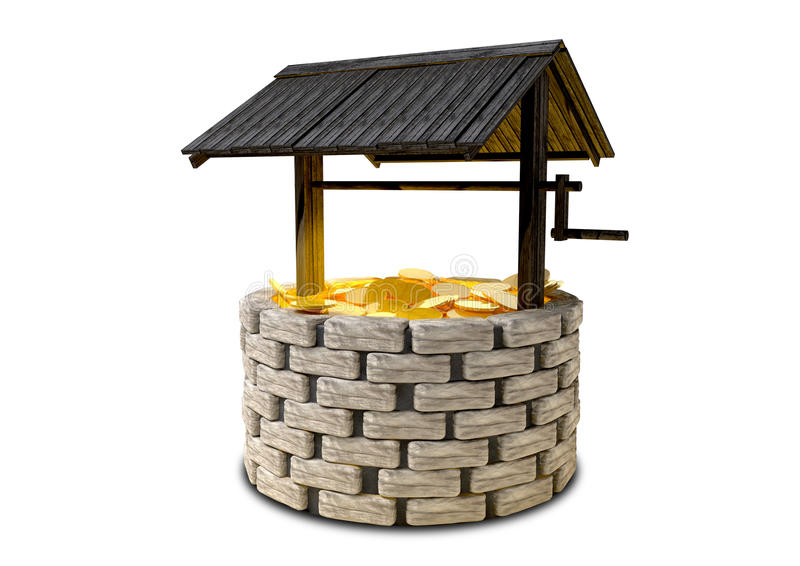 Wishing Well With Gold Coins royalty free illustration