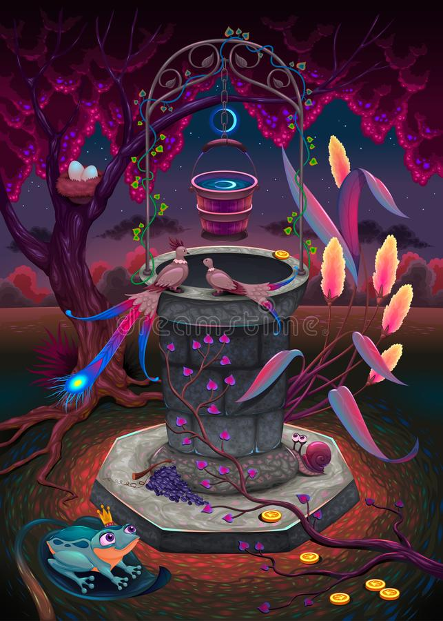 The wishing well in a magic garden royalty free illustration