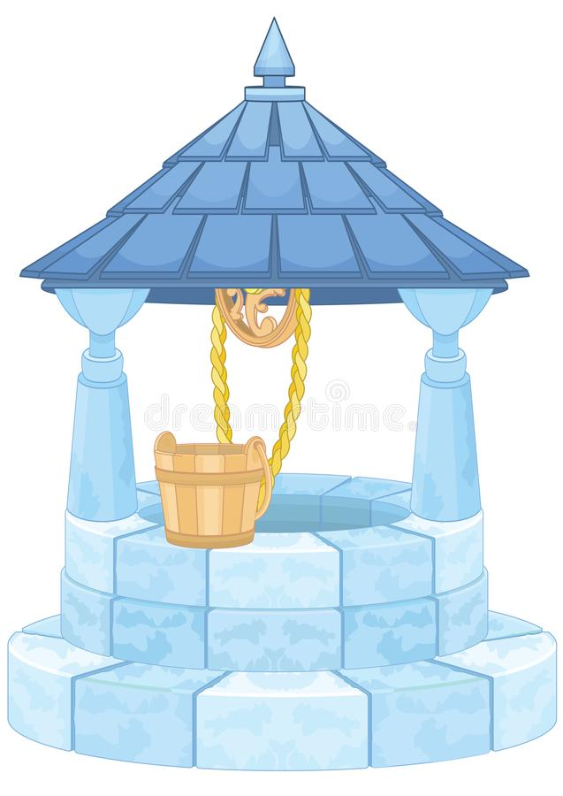 Wishing Well With Wooden Bucket royalty free illustration