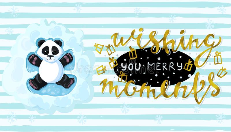 Wishing you merry moments Handwritten elegant modern brushes inscription gold Panda is lying in the playing snow angels. Vector stock illustration
