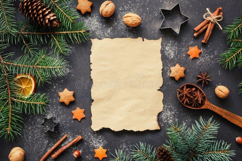 Wishlist para conceito da letra de Santa ou de Natal Fundo do feriado imagens de stock royalty free