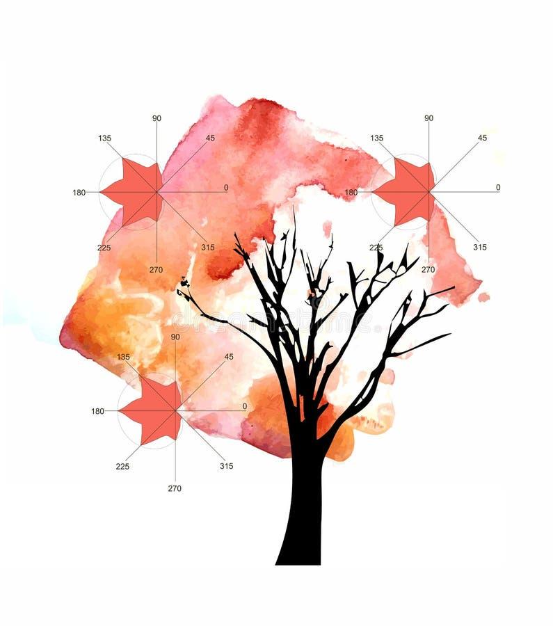 Wiskunde als art. De mooie kaart met de herfstboom en algebraïsche percelen in vorm van esdoorn gaat weg royalty-vrije illustratie