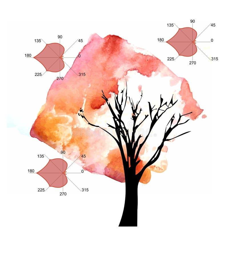 Wiskunde als art. De mooie kaart met de herfstboom en algebraïsche percelen in vorm van linde gaat weg vector illustratie