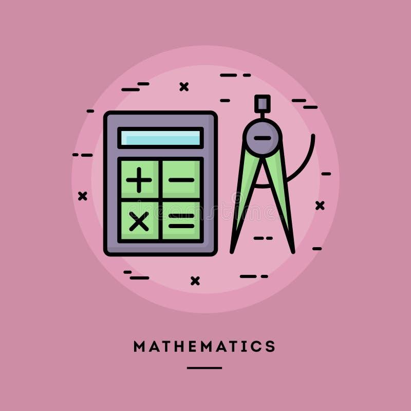 Wiskunde, de vlakke banner van de ontwerp dunne lijn royalty-vrije illustratie