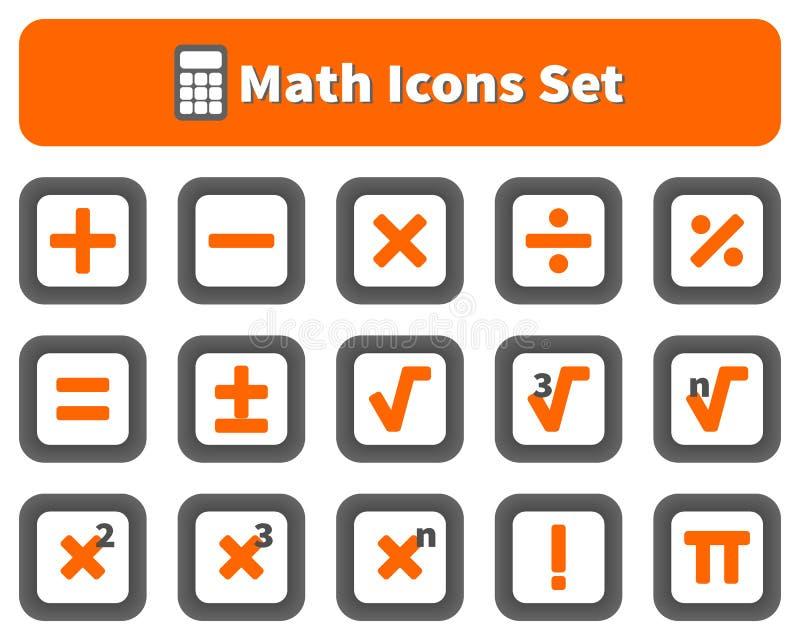 Wiskunde en calculator geplaatste pictogrammen stock illustratie