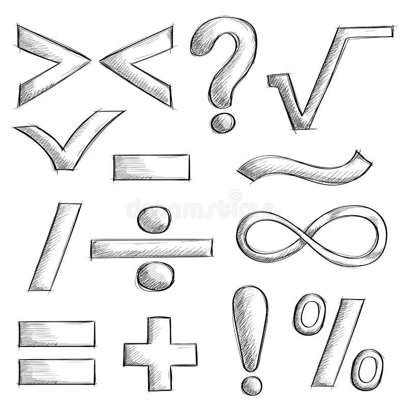 Wiskunde en punctuatiesymbolen Hand getrokken schets vector illustratie