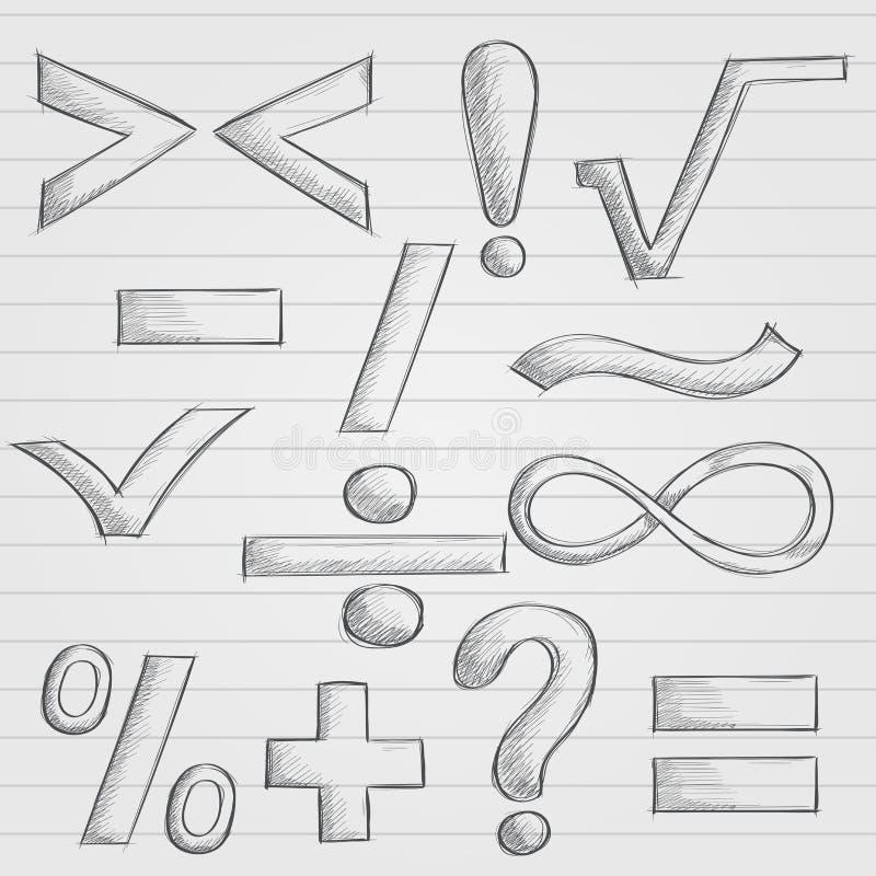 Wiskunde en punctuatiesymbolen Hand getrokken schets op gevoerde document achtergrond royalty-vrije illustratie