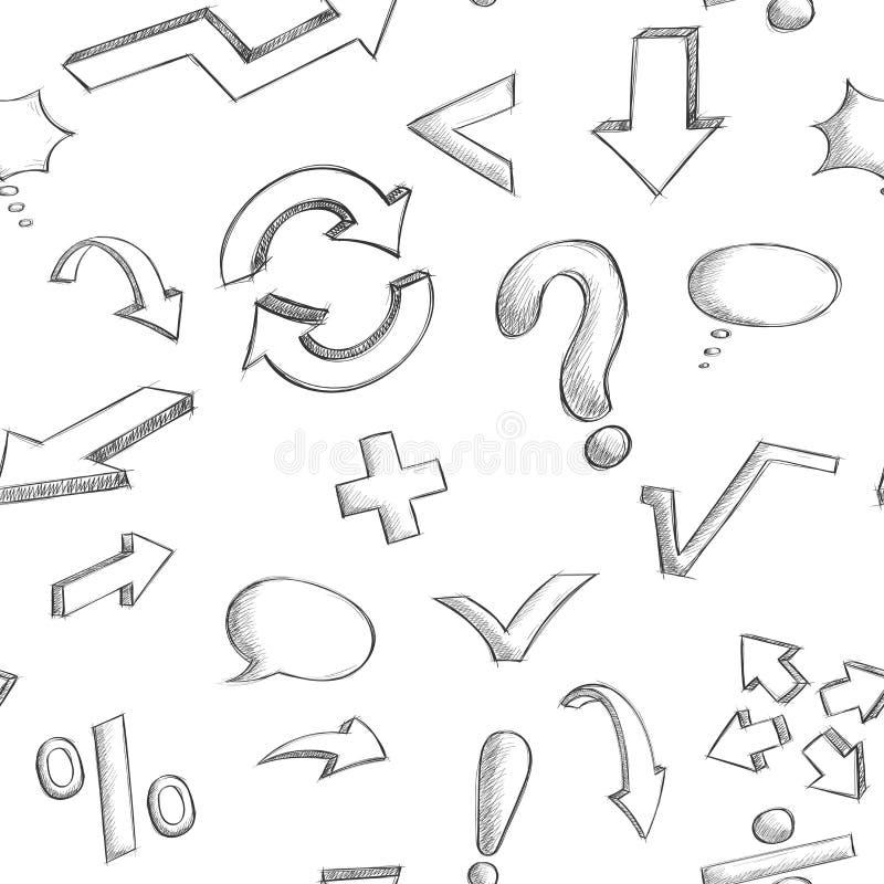 Wiskunde en punctuatiesymbolen Naadloos patroon Hand getrokken schets vector illustratie