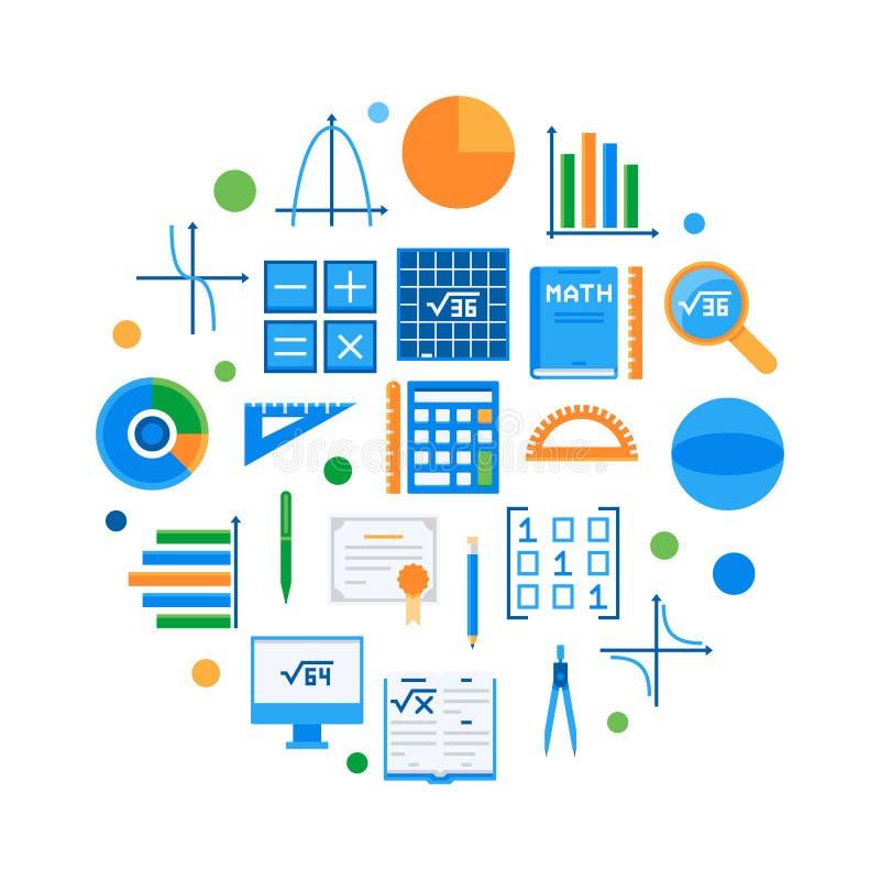 Wiskunde en wetenschap om vlakke vectorillustratie stock illustratie