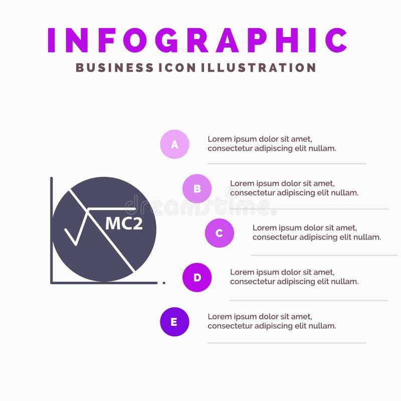 Wiskunde, Formule, Wiskundeformule, de Presentatiemalplaatje van Onderwijsinfographics 5 stappenpresentatie stock illustratie