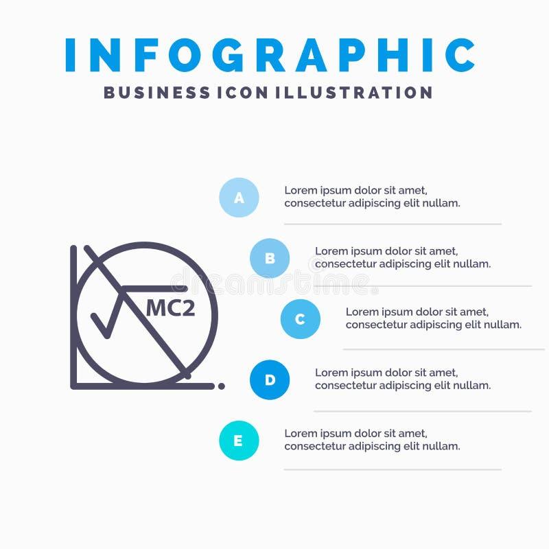 Wiskunde, Formule, Wiskundeformule, Malplaatje 5 van Onderwijs Blauw Infographics Stappen Het vectormalplaatje van het lijnpictog royalty-vrije illustratie