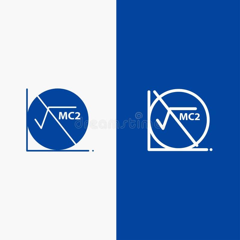 Wiskunde, Formule, Wiskundeformule, Onderwijslijn en Stevige het pictogram Blauwe banner van Glyph stock illustratie