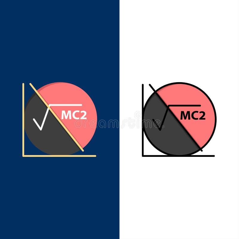 Wiskunde, Formule, Wiskundeformule, Onderwijspictogrammen Vlak en Lijn vulde Pictogram Vastgestelde Vector Blauwe Achtergrond stock illustratie