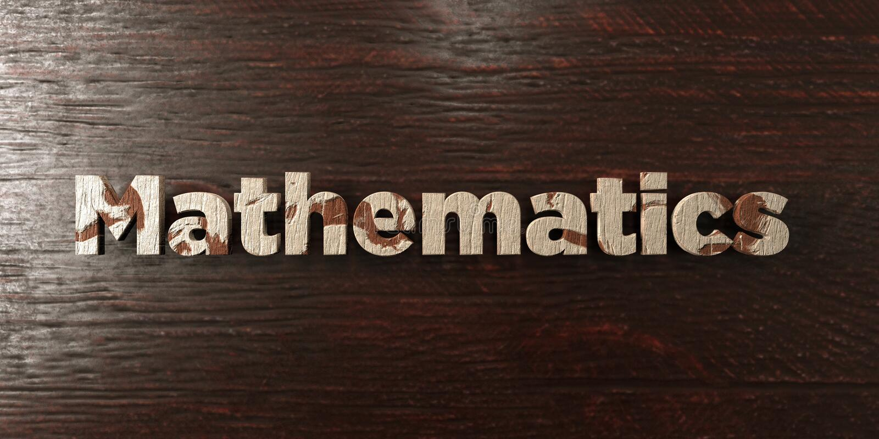 Wiskunde - grungy houten krantekop op Esdoorn - 3D teruggegeven royalty vrij voorraadbeeld vector illustratie
