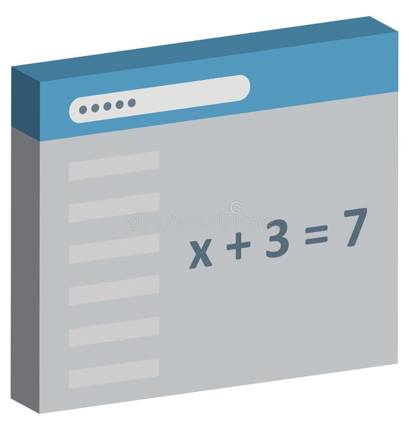 Wiskunde het Scherm Geïsoleerd Vectorpictogram Editable vector illustratie