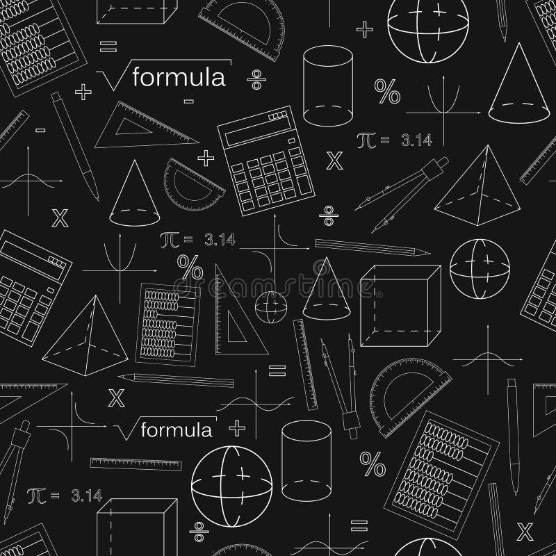 Wiskunde naadloos zwart patroon lineaire stijl royalty-vrije illustratie