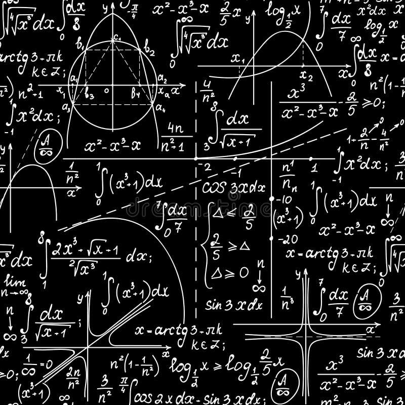 Wiskunde naadloze eindeloze vectortextuur met met de hand geschreven wiskundige formules, meetkundecijfers en vergelijkingen royalty-vrije illustratie