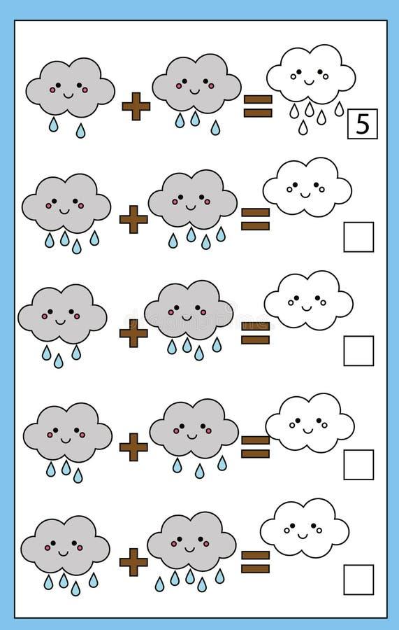 Wiskunde onderwijs tellend spel voor kinderen, toevoegingsaantekenvel vector illustratie