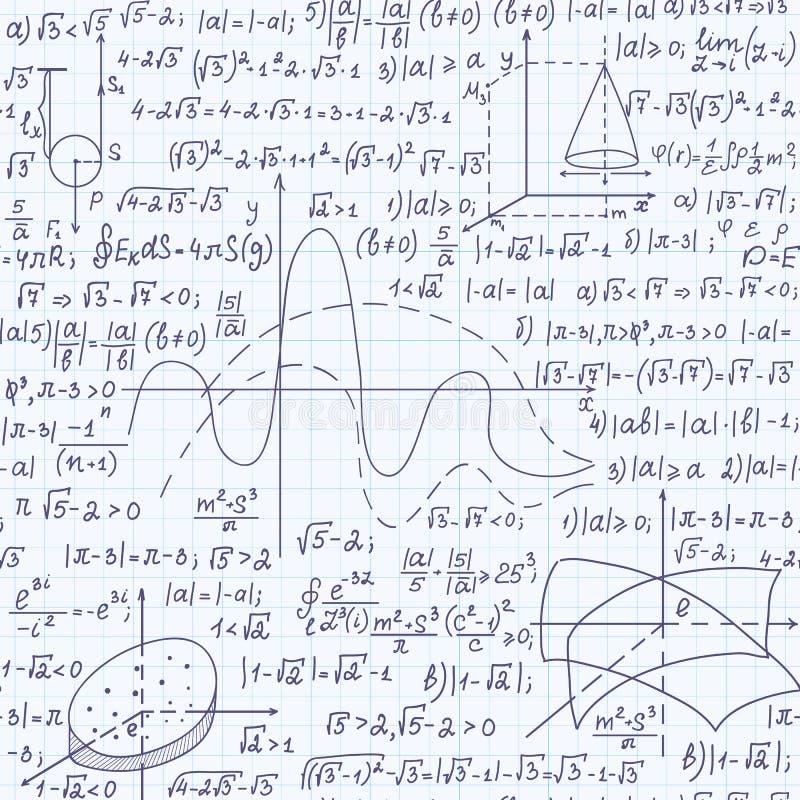 Wiskunde onderwijs vector naadloos patroon met formules, berekeningen, vergelijkingen, percelen en geometrische cijfers stock illustratie
