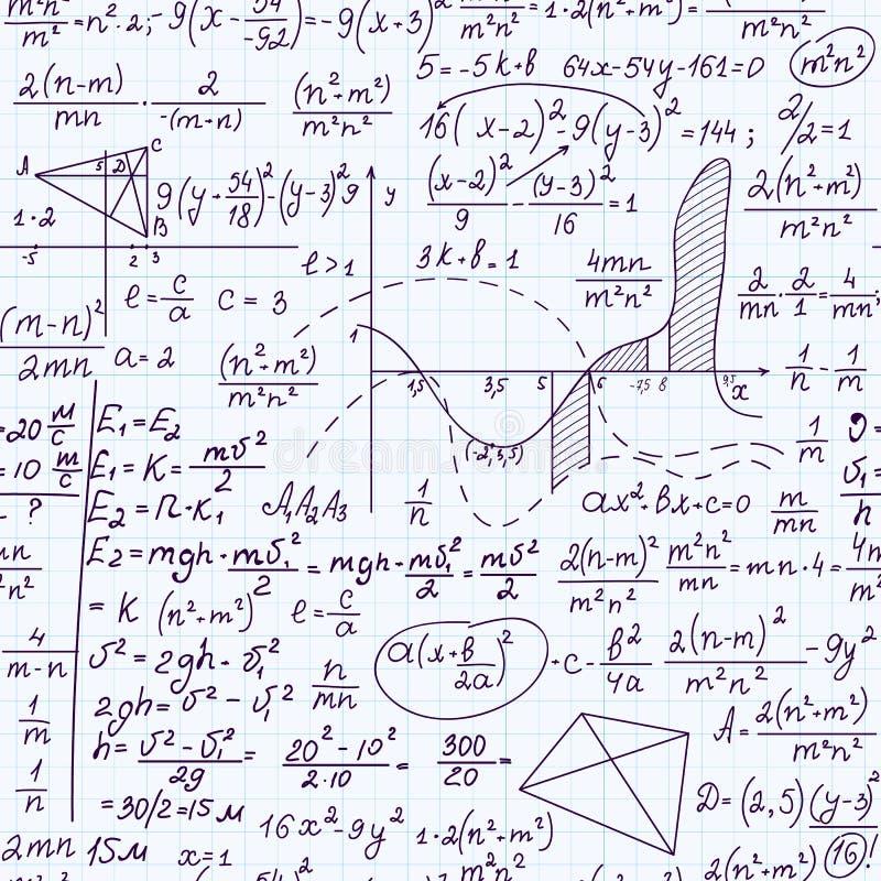 Wiskunde onderwijs vector naadloos patroon met formules, taken, percelen, berekeningen en geometrische cijfers stock illustratie